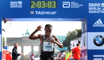 Bekele after winning in Berlin.