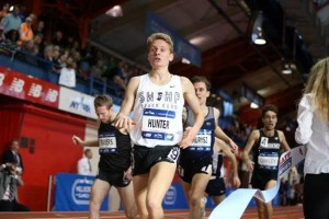 Drew Hunter, pictured during last year's record-setting NYRR Millrose Games performance, is scheduled to run in an elite mile field in the upcoming New Balance Games. Photo by John Nepolitan.