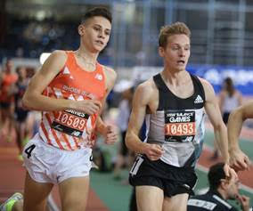 D.J. Principe (left) and Drew Hunter go head-to-head during Saturday's 1 Mile Elite/Pro Race at The Armory's New Balance Track & Field Center; (Right photo) Ajee' Wilson turns in an impressive time to win the Women's 600m. Principe/Hunter photo by John Nepolitan; Wilson photo by Justin Gaymon