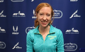 Amanda Eccleston after speaking with the media ahead of the 2017 NYRR Millrose Games in New York (photo by Chris Lotsbom for Race Results Weekly)