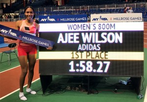 Ajee' Wilson celebrates her USA indoor 800m record of record of 1:58.27 set at the 2017 NYRR Millrose Games (photo by Chris Lotsbom for Race Results Weekly)