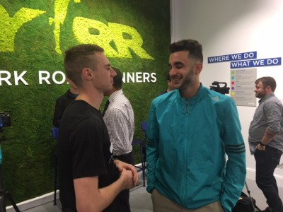 Robby Andrews started laughing when asked to stare down Clayton Murphy
