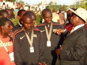 Ugandan Yoweri Museveni Talks to Joshua Cheptegei