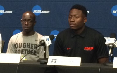 Holloway (right) at Friday's NCAA press conference