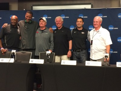 (L to R): Holloway, Johnson, Arkansas' Chris Bucknam & Lance Harter, Kyprianou and Texas A&M's Pat Henry