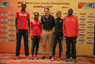 Gollish (second from right) with Olympic champions Kiprop, Kipyegon, Coe, and Kiprotich (Photo by Roger Sedres for IAAF)