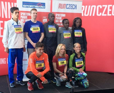 Some of the elite athletes who will run the 2017 Sportisimo Prague Half-Marathon. Back row, left to right: Daniele Meucci (Italy), Galen Rupp (USA), Barselius Kipyego (Kenya), Joyciline Jepkosgei (Kenya), Violah Jepchumba (Kenya). Front row, left to right: Jiri Homolac (Czech Republic), Eva Vrabcova (Czech Republic), Jordan Hasay (USA). (Photo by David Monti for Race Results Weekly)