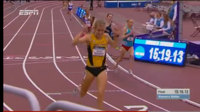 Karissa Schweizer celebrates her first NCAA track title