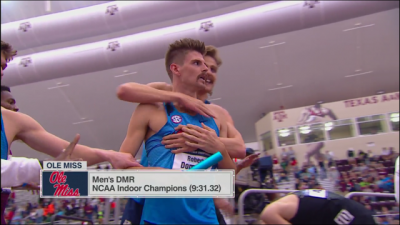 Must be the mustache - Ole Miss celebrates their DMR victory