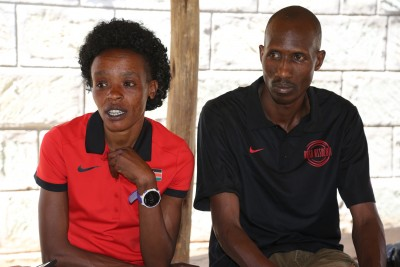 Sumgong and her husband Talam (photo from IAAF Day in the Life)