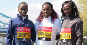 Three of the top Kenyan women running the 2017 Virgin Money London Marathon (left to right): Vivian Cheruiyot, Florence Kiplagat, and Mary Keitany (photo by Jane Monti for Race Results Weekly)