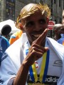 PHOTO: Meb Keflezighi immediately after winning the 2014 Boston Marathon (photo by Jane Monti for Race Results Weekly)