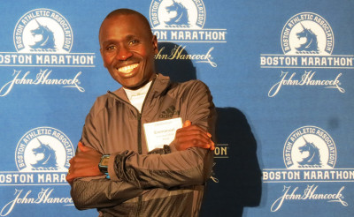 Emmanuel Mutai of Kenya in advance of the 2017 Boston Marathon (photo by Jane Monti for Race Results Weekly)
