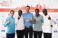 Jessica Augusto, Viola Kibiwot, race organiser Frank Thaleiser, Tsegaye Mekonnen and Stephen Kiprotich Credit: Haspa Marathon Hamburg / Malte Christians