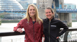 Kellyn Taylor (left) and Laura Thweatt pose in front of The Thames three days before the 2017 Virgin Money London Marathon (photo by Jane Monti for Race Results Weekly)