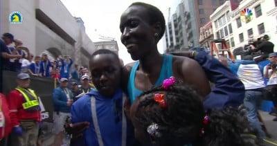 Kiplagat celebrates with some of her children