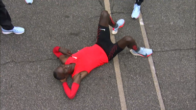 Kipchoge after the finish
