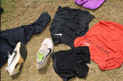Kipchoge's Breaking2 gear drying in the sun. Photo courtesy Jean-Pierre Durand for the IAAF.