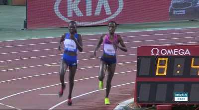 Kiyeng and Jebet entering the home straight -- racing at its finest