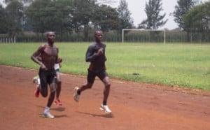 Biwott sent us this photo of himself, Wanjiru, and Maritim training in 2010