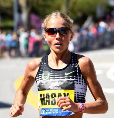Hasay ran great in her marathon debut in Boston in April