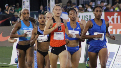 Emily Richards (center) competing in the semi-finals of the 800m at the USATF National Outdoor Track & Fiend Championships in Sacramento, Calif. (photo courtesy of Ohio Northern University Sports Information Office, used with permission)