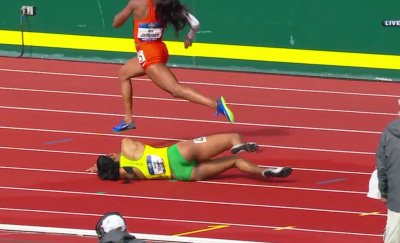 Not a common sight in the 200m