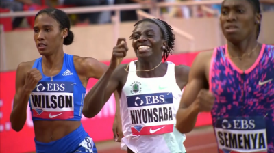Wilson didn't beat NIyonsaba and Semenya in Monaco last year, but she did break the American record