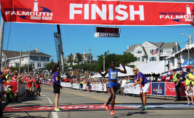 Caroline Chepkoech of Kenya wins the 45th New Balance Falmouth Road Race, her second in a row, in 35:53 (photo by Chris Lotsbom for Race Results Weekly)