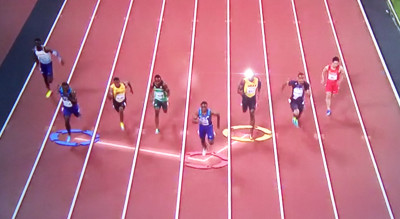 BBC Graphic showing Coleman leading Galtin and Bolt roughly midway through the race