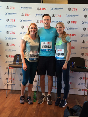 Coburn with fellow world champs Sally Pearson and Karsten Warholm