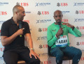 Farah with moderator Colin Jackson
