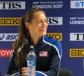 Jenny Simpson of Boulder, Colo., speaks to the media prior to the 2017 IAAF World Championships (photo by Jane Monti for Race Results Weekly)