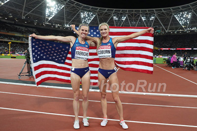 Coburn with fellow medalist Courtney Frerichs after the 2017 WC steeple final