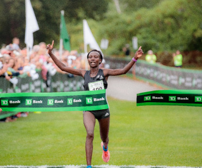 Keitany claiming one of her many road victories at Beach to Beacon last summer