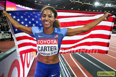 Carter won Worlds in London last year in the 400 hurdles