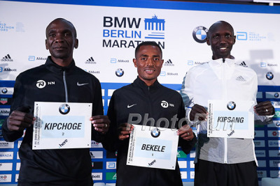 Kipchoge, Bekele, and Wilson Kipsang in Berlin last week