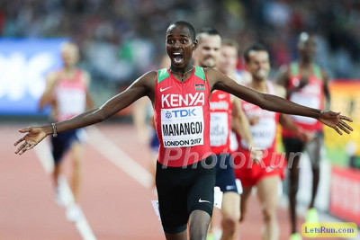 Manangoi moved up one spot on the podium to win gold in London