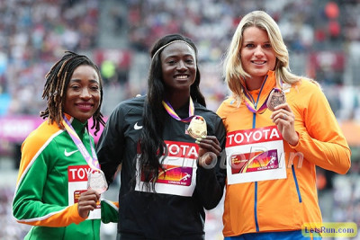 Bowie atop the 100m podium at Worlds in August