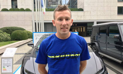 Ryan Vail in advance of the 2017 BMW Berlin Marathon (photo by David Monti for Race Results Weekly)