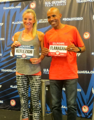 Shalane Flanagan and Meb Keflezighi at the pre-race press conference in Los Angeles for the 2016 USA Olympic Team Trials Marathon last February (photo by Jane Monti for Race Results Weekly)