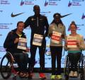 Defending Chicago champs Marcel Hug, Abel Kirui, Florence Kiplagat, and Tatyana McFadden