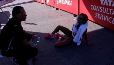 A tired Jordan Hasay at the finish