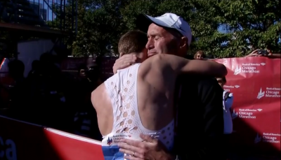 Rupp embraces Alberto Salazar after the race