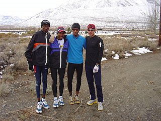 Abdi Abdirahman, Meb, Bolota Asmerom, and Shay training in Mammoth Lakes