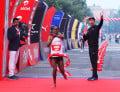 Berhanu Legese winning at the Airtel Delhi Half Marathon 2017