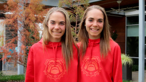 Samantha (left) and Jessica Drop of the University of Georgia in Louisville, Ky., prior to the 2017 NCAA Division I Cross Country Championships (photo by David Monti for Race Results Weekly)