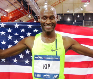 Bernard Lagat after breaking the world indoor record for the mile (3:54.91) at the 2014 NYRR Millrose Games (photo by Jane Monti for Race Results Weekly)