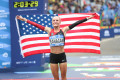 Shalane Flanagan after winning NYC
