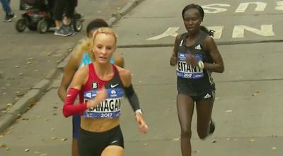 Flanagan beat the #1 marathoner in the world Keitany